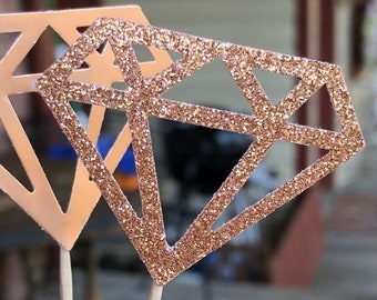 120 Rose Gold Sparkle Diamond Diamonds  Cupcake Toppers Topper Wedding Bride Engagement Ring