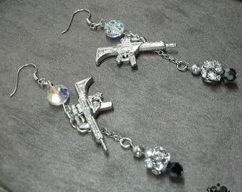 Quirky LA Glam Rock AK-47 Silver Charm Earrings