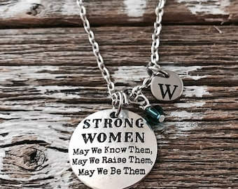 SALE, STRONG WOMEN, Silver Charm Necklace, Break Up, Divorce, Tough Girl, Strength, Brave, Strong, Survivor, Gifts, Charm Necklace,