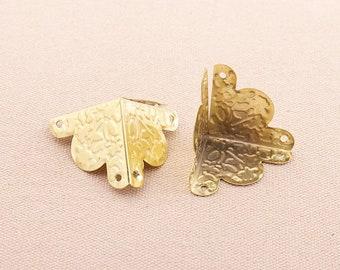 8PCS Conners,Gold 42*30mm Corner Decorative Corner Bracket Jewelry Box Wooden Case Decorative Leg Corner Protector