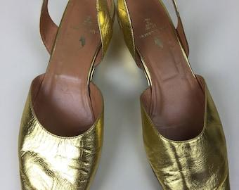 Ralph Lauren metallic gold peep toe wedge sling back sandals sz 7 1/2 90s