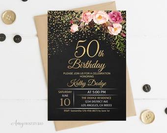 50th Birthday Invitation, Floral Women Birthday Invitation, Chalkboard Birthday Invite, PERSONALIZED, Digital file, #W16