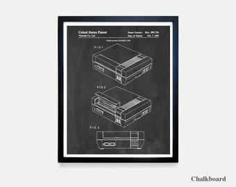 Nintendo NES Console - Video Game Art - Video Game Poster - Nintendo Patent - Video Game Wall Art - NES Art - Nintendo Patent Art