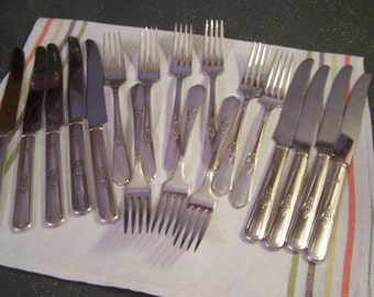 Antique Rogers, Oneida Ltd Flatware Pieces, Dinner Forks, Knives, 18 pcs, Encore 1934, Countess '36