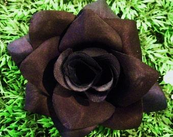 Black Rose, Black Rose Hair Clip, Pinup Hair Accessorie, Black Rockabilly Hair Flower