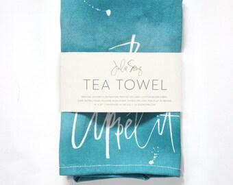 Bon Appétit Watercolor and Calligraphy Tea Towel