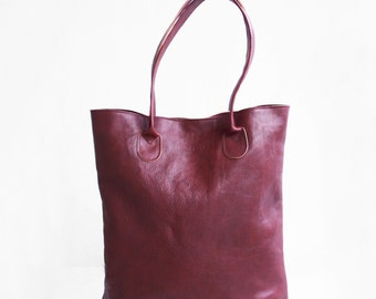 The Essential Tote in Wine / Leather Tote Bag / Leather Bag / Red Tote Bag / Burgundy Tote Bag /Red Leather Tote /Leather Handbag