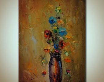 PALETTE KNIFE Flowers Painting, Textured Painting, floral Art, Original Artwork, Oil painting, Canvas Art, Kitchen Wall Decor, Modern Art