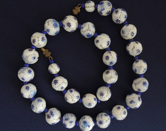 Blue White Millefiore Glass Bead Choker Necklace Vintage Mid Century
