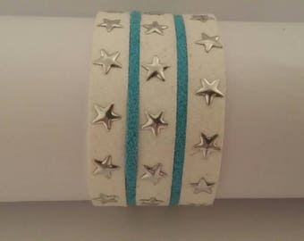 Starry white and Blue Suede Cuff Bracelet