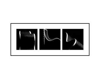 Acoustic Guitar Triptych Matted & Framed (3 Black and White Photographs, 10 x 10 each) Large Music Wall Decor