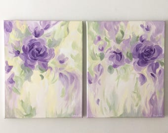 "Pair of Original Abstract Floral Paintings on Canvas, Purple, Green, Yellow, 20"" x 16"""