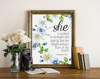 Proverbs 31:25, She is clothed in strength and dignity, bible verse printable, calligraphy verse, scripture printable, christian printable