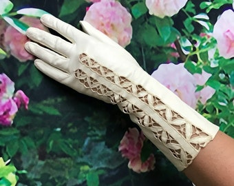 Vintage Ivory Cutwork Lace White Kid Leather Gloves Long