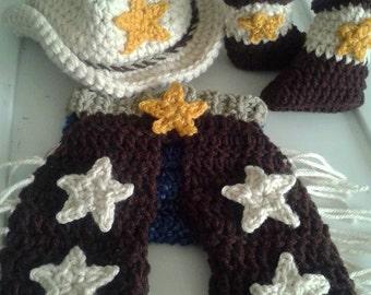Crochet baby Wrangler Cowboy set. cowboy hat. baby cowboy hat. baby boots