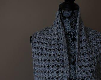Gray Hand Crocheted Pashmina