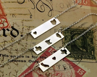 sterling silver state bar state necklace best friend gift state to state east to west hometown gift double state horizontal personalized bar