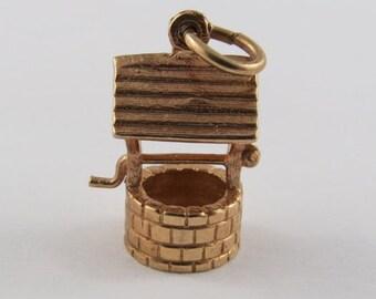 Wishing Well 10K Gold Vintage Charm For Bracelet