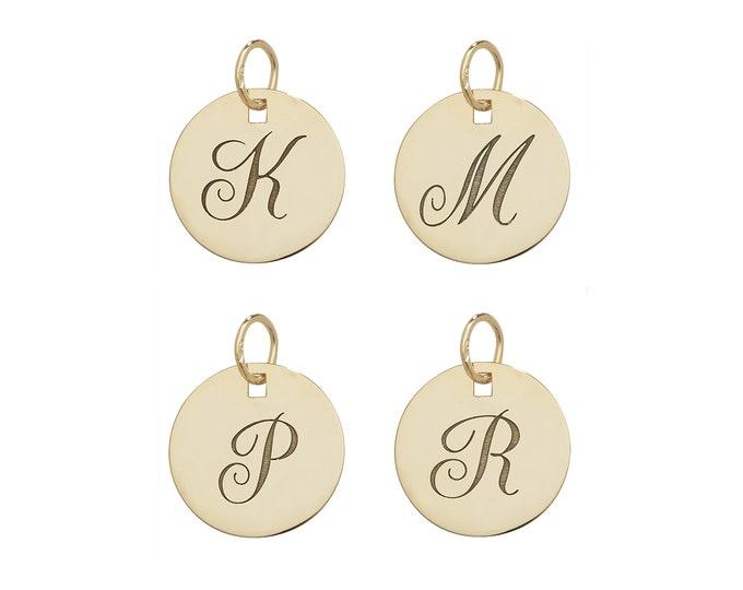 Personalised 9ct Yellow Gold Engraved Initial 14mm Round Disc Pendant