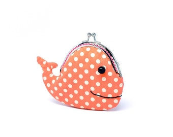 Cute coral orange whale clutch purse