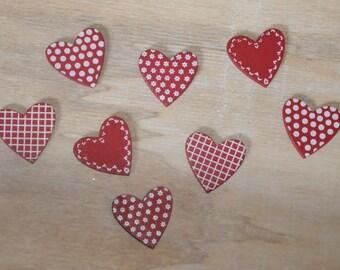 Embellishments: set of eight hearts fancy wood