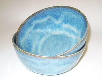 Blue with Brown and Tan Ceramic Bowl, Soup Bowl, Cereal Bowl, Salad Bowl, Serving Bowl