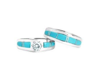 Turquoise Bridal Ring Set