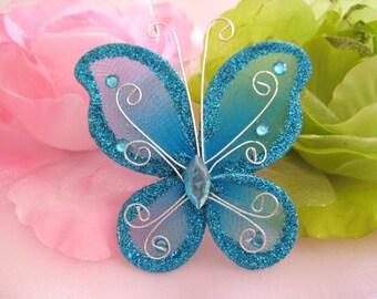 """12 pcs, 3"""" Tuquoise Nylon Butterflies for Wedding Decor, Flower Arrangement, Table Scatters, Baptism Favors, Christening Favors"""