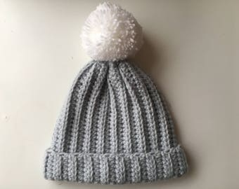 Crochet baby hat, Crochet baby beanie, crochet bobble hat, Baby hat, Baby beanie, photo prop, Baby gift