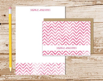 personalized chevron stationery set . shabby chevron notepad + note card set . notecard note pad . stationary gift set . color options