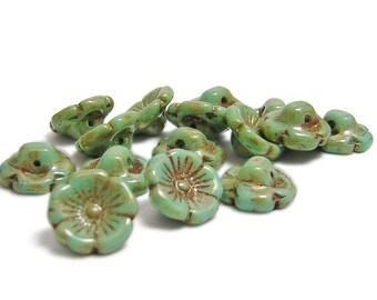 Flower Beads - Flower Button Beads - Czech Picasso Beads - Czech Glass Beads - Czech Flowers - Czech Beads - 15pcs (4627)