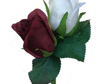 Burgundy and Ivory Silk Rose Double  Men's Boutonniere - Groom Groomsman Prom