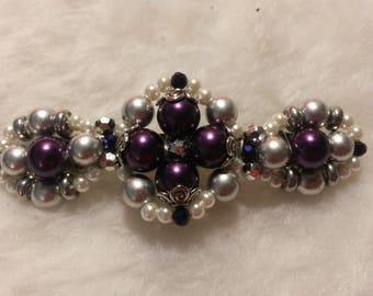 Beaded Barrette, Quad Design, PurplePearl1