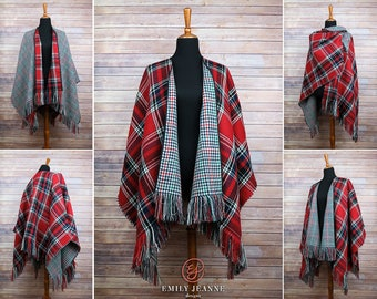 Reversible Poncho Cape with long hand-fringed edges - Red, black, blue, and white plaid with cream, blue, red, and green houndstooth reverse