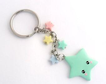 Kawaii Shooting Star Keychain, Lolita, Fairy Kei, Cute :)