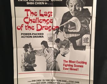 Original 1978 The Last Challenge Of The Dragon One Sheet Movie Poster, Karate, Kung Fu, Martial Arts