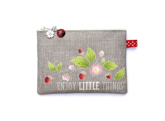 """Wallet in natural linen illustrated """"Enjoy little things"""""""