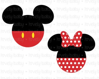 Minnie and Mickey Mouse disney Love SVG ONESIE, Cuttable File, dxf, eps, jpg, png, svg, Baby Girl, Baby Boy, Cricut, Silhouette, Instant
