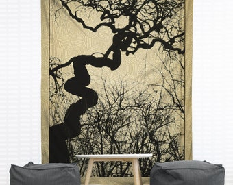 Mozartgrab Hanging Wall Tapestry, Home Decor, Dorm, Silhouette, Halloween, Spooky, Tree Wall Hanging, Headboard Tapestry, Gothic, Creepy