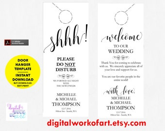 wedding door hanger template. Wedding Door Hanger Template, Printable, Please Do Not Disturb Hanger, Template