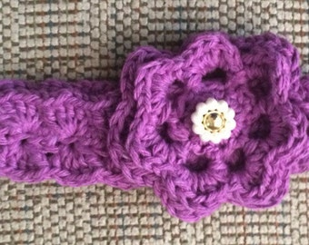 Purple Cotton Baby Headband, Pretty Cotton Head band, Baby Hair Accessory,Purple Flowered Hairband, Headband,  Baby Gift, Newborn Baby