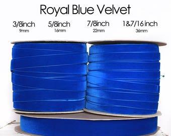 Royal Blue Velvet Ribbon - 3/8inch, 5/8inch, 7/8inch, 1&7/16inch/(1/2inch, 1inch, 1.5 inch) sea blue velvet, admiral blue velvet