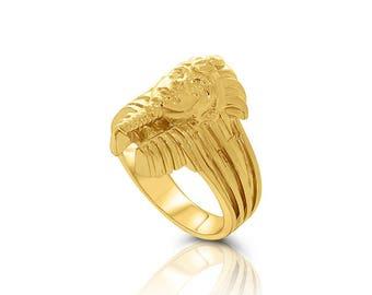14k gold Pharoah ring. Egyptian ring.