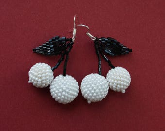 White Black Earrings Beaded earrings Cherry earrings Fruit earrings Fruit jewelry Handmade earrings ball earrings drop earrings