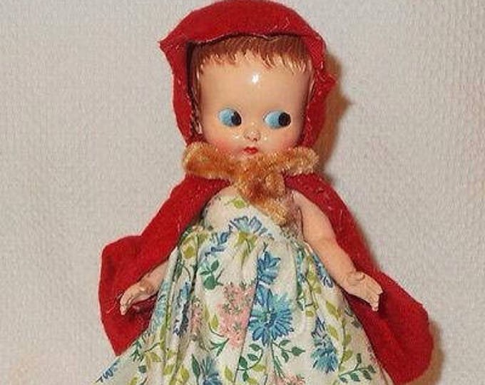"6"" Vintage 60s Plastic Molded Arts Doll Co. Red Riding Hood Hard Plastic Doll Toy Flirty Blue Eyes Jointed Arms Original Dress"
