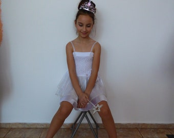White fairy, beautiful children's dress, tulle dress, white dress with straps, crystal dress,   children's dress 110-116
