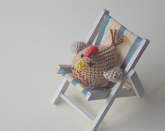 Amigurumi hen. Stuffed chicken plush toy. Farm animal soft toy.