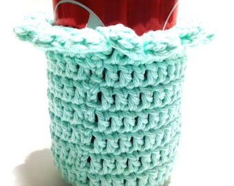 Mint Crocheted Can Cover With Ruffle