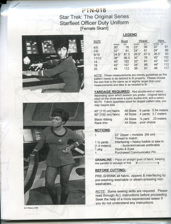 Star Trek TOS Starfleet Officer Duty Uniform Female Skant