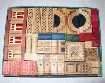 Vintage wooden building set toy